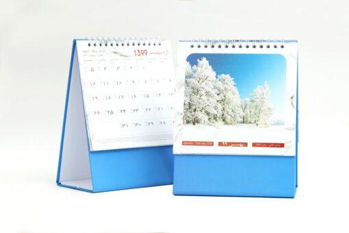 تقویم رومیزی سلفونی طبیعت پایه آبی مدل 706