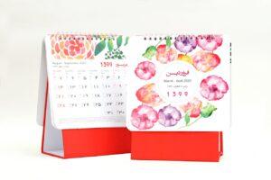 تقویم رومیزی سلفونی گل پایه قرمز مدل 710